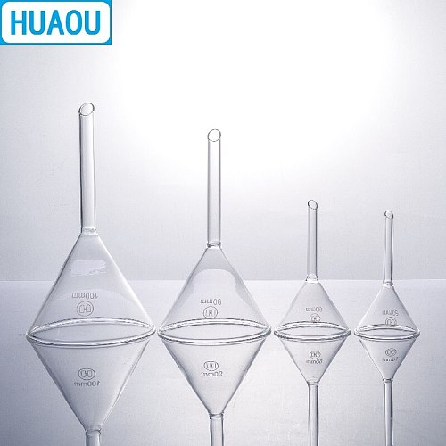 HUAOU 90mm Funnel Short Stem 60 Degree Angle Borosilicate 3.3 Glass Laboratory Chemistry Equipment