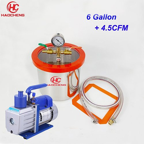 Free Shipping 6.2 Gal (24L) Stainless Vacuum Chamber with 4.5CFM 220V Vacuum Pump,28cm*40cm Degassing Chamber
