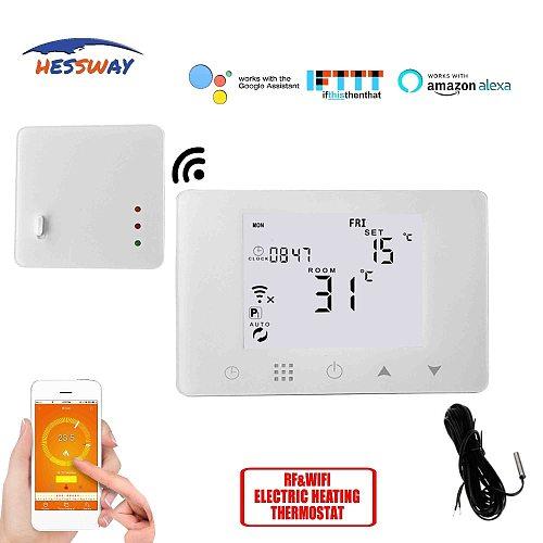 HESSWAY TUYA Weekly Programmable floor heating thermostat sensor wifi&RF wireless for Electric heating 16A