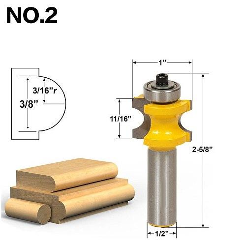 1-5Pc Bullnose Router Bit Set C3 Carbide Tipped 1/2  Shank 12mm shank Woodworking cutter - RCT17001