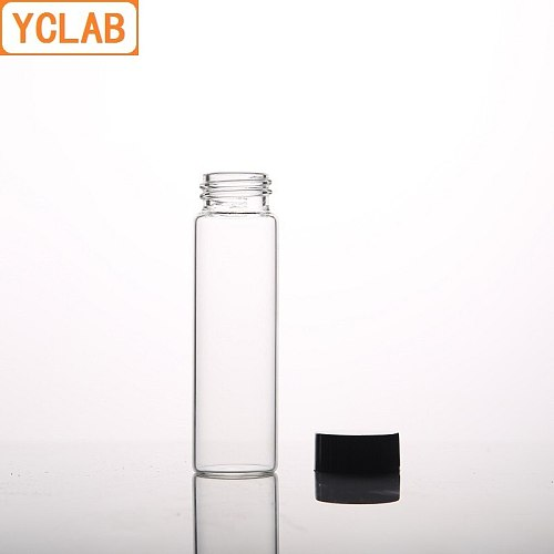 YCLAB 10mL Glass Sample Bottle Serum Bottle Transparent Screw with Plastic Cap and PE Pad Laboratory Chemistry Equipment