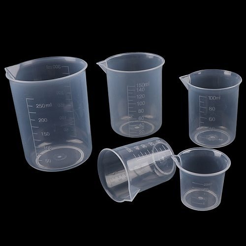 2Pcs 250ml/150ml/100ml/50ml/25ml Transparent Kitchen Laboratory Plastic Volumetric Beaker Measuring Cup