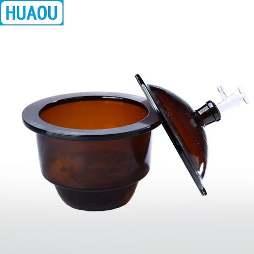 HUAOU 120mm Vacuum Desiccator with Ground - In Stopcock Porcelain Plate Amber Brown Glass Laboratory Drying Equipment