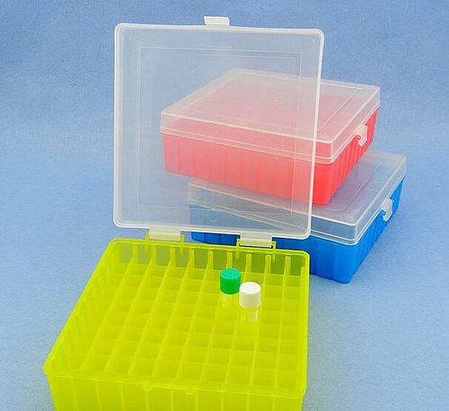 100 Holes Laboratory Plastic Tube Box Rack Use for 2ml,1.5ml 1.8ml Cryopreservation Tube With Connection Cover , 1pcs