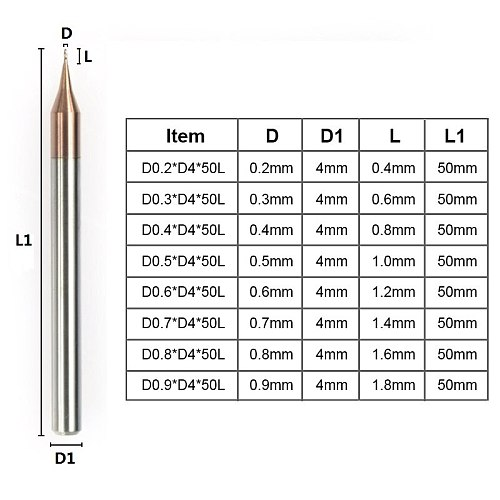 2 Flute Micro Flat End Mill 1pc 0.2-0.9mm 4mm Shank Tungsten Carbide CNC Router Bit TiCN Coated Mini Milling Cutter