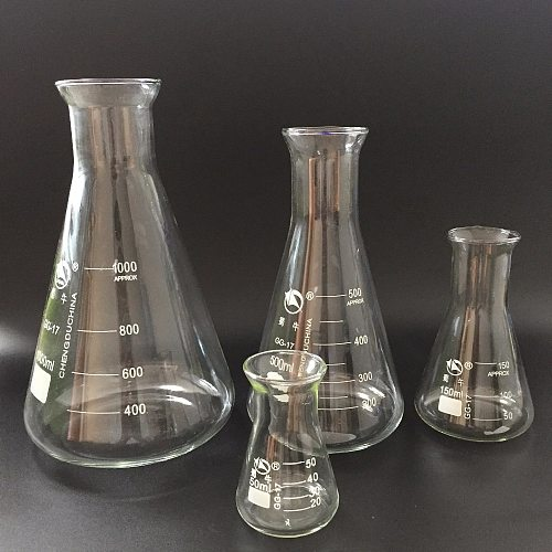 1pc 50-2000ml  high quality triangle glass trumpet mouth flask conical flask Erlenmeyer Flask labratory wide neck flask