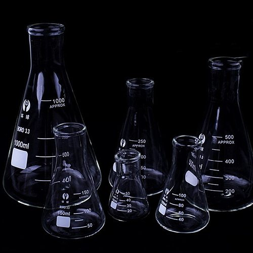 1 PC Erlenmeyer Borosilicate Glass Flask Narrow Neck Conical Triangular Flask Laboratory Chemical Equipment 50 Ml To 1000ml