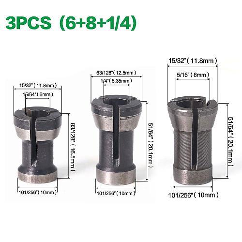 1-3pcS 6mm  6.35mm 8mm Collet Chuck Engraving Trimming Machine Electric Router Bit 3pcs/set Collets Wholesale Price