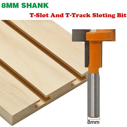 1Pc 8mm Shank T-Slot And T-Track Sloting Wood Router Bit Woodworking Tenon Milling Cutter Tools Woodworking Tools