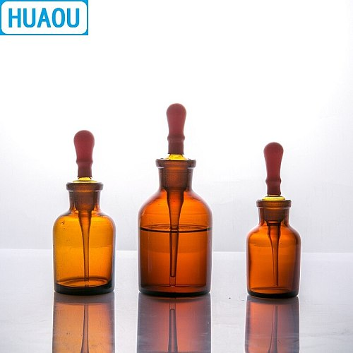 HUAOU 30mL Dropping Bottle Brown Amber Glass with Ground in Pipette and Latex Rubber Nipple Laboratory Chemistry Equipment