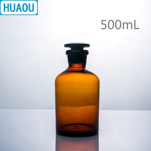 HUAOU 500mL Narrow Mouth Reagent Bottle Brown Amber Glass with Ground in Glass Stopper Laboratory Chemistry Equipment