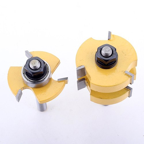 2PC 8mm Shank high quality large Tongue and Groove Joint Assembly Router Bit Set  1-1/4  Stock Wood Cutting Tool  - CHWJW