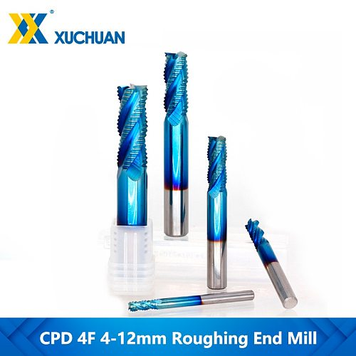 Spiral Milling Bit 4 Flute End Mill 4-12mm Nano Blue Coating Tungsten Carbide Milling Cutter Spiral Router Bit Roughing End Mill