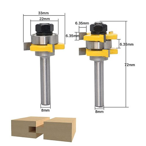 2 Bit Tongue and Groove Router Bit Set Wood Milling Cutter flooring knife- 8mm Shank