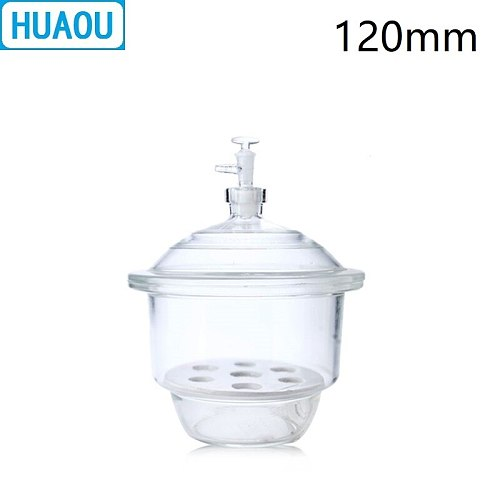 HUAOU 120mm Vacuum Desiccator with Ground - In Stopcock Porcelain Plate Clear Glass Laboratory Drying Equipment
