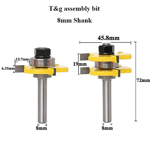 8mm Shank Tongue & Groove Joint Assembly Router Bit Set Wood Cutter Woodworking Tool - RCT Milling Cutter Mill Tool
