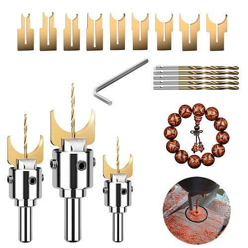 Premium Beads Drill Bit Carbide Ball Blade Woodworking Milling Cutter Molding Tool Beads Router Drills Bit Set