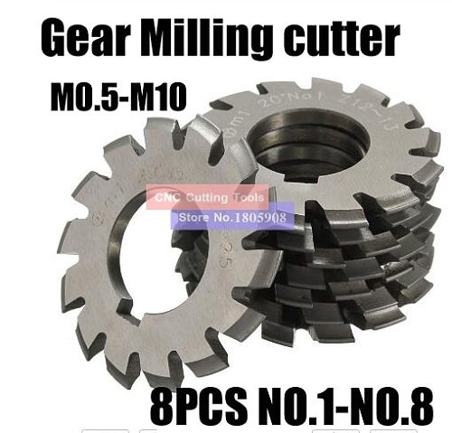 8PCS M0.4/M0.5/M0.6/M0.7/M0.8/M1/M1.25/M1.5/M2/M3/M4 Modulus PA20 degrees NO.1-NO.8 HSS Gear Milling cutter Gear cutting tools