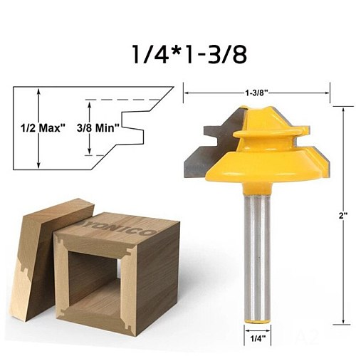 Milling Cutter Router Bit Set 6.35mm Wood Cutter Carbide 45 Degree 1/2'Mill Woodworking Trimming Engraving Carving Cutting Tools