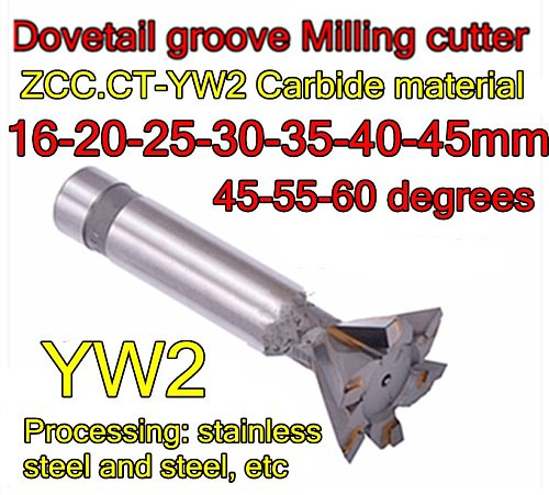 16-20-25-30-35-40-45mmx45-55-60degrees ZCC.CT YW2 Carbide dovetail milling cutter Processing: stainless steel and steel, etc