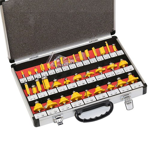 35PCS 1/4 (6.35mm) Shank Tungsten Carbide Router Bit Set Wood Woodworking Cutter Trimming Knife Forming Milling w/ Wood Case box