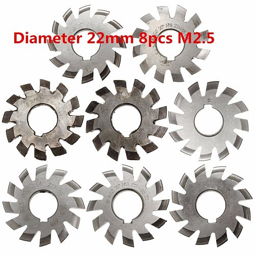 Module 2.5 M2.5 PA20 Degrees Bore 22mm #1-8 HSS Involute Gear Milling Cutter High Speed Steel Milling Cutter Gear Cutting Tools