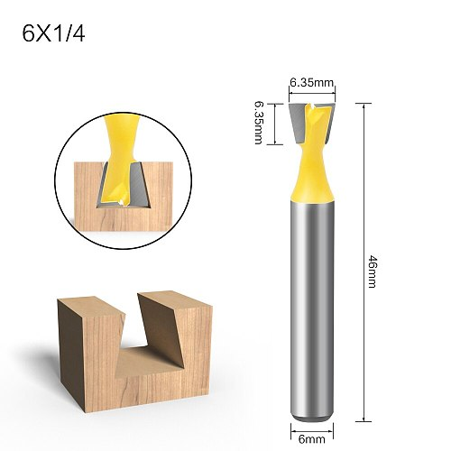 6Pcs 6mm Shank Dovetail Milling Cutters C3 Grade Tungsten Router Bits For Wood Carving Woodworking Tools