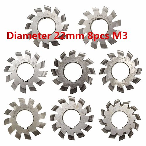 Module 3 M3 PA20 Degrees Bore 22mm #1-8 HSS Involute Gear Milling Cutter High Speed Steel Milling Cutter Gear Cutting Tools