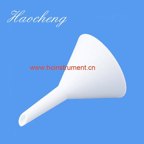 white chemistry laboratory equipment plastic PTFE separatory  funnel