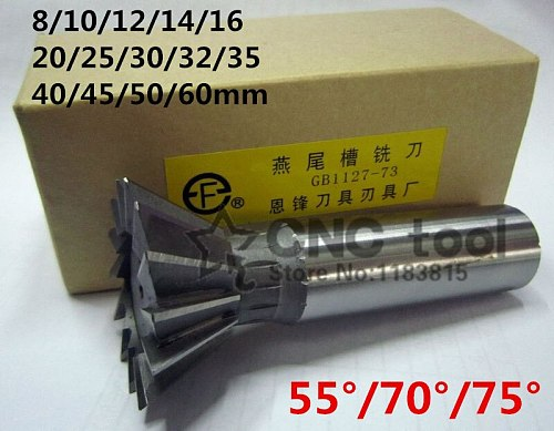 1Pcs 10mm/12mm/14mm/16mm/18mm/20mm/25mm/30mm/32mm/35mm/40mm/45mm 50/70/75 Degree Premium HSS Dovetail Cutter End Mill Milling