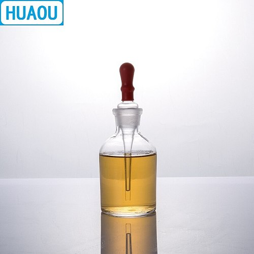 HUAOU 60mL Dropping Bottle Clear Glass with Ground in Pipette and Latex Rubber Nipple Laboratory Chemistry Equipment