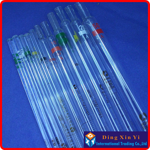(5 pieces/lot)10ml glass burette,resolution 0.1ml,10ml Glass measuring Pipette with coding gand,graduated pipette