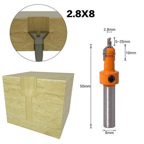 1pcs 8mm Shank HSS Woodworking Countersink Router Bit Set Screw Extractor Remon Demolition for Wood Milling Cutter