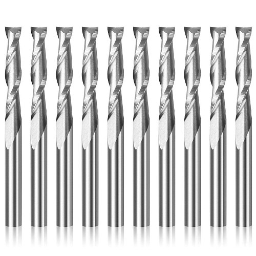 10pcs 3.175 1/8 Shank 2 Flute Spiral Milling Cutter CNC Flat Nose End Mill Engraving Router Bit for Wood Carbide Tool Endmill