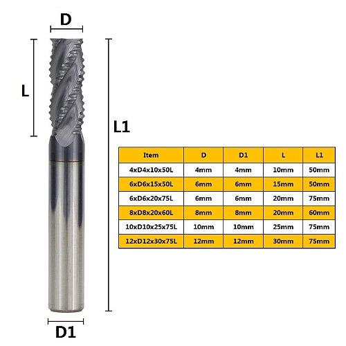 Roughing End Mill 4 Flute End Mills CNC Router Bit HRC50 Nitriding Coating Router Bit 4-12MM Tungsten Carbide Milling Cutter