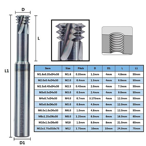 Thread Mill 3 Flute Solid Carbide mill CNC Threading Tools M1.6 M2 M2.5 M3 M4 M5 M6 M8 M10 M12 Thread working tools