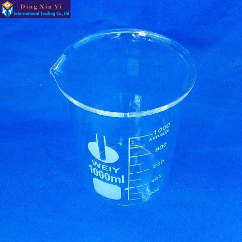 1000ml Low Form Beaker Chemistry Laboratory Borosilicate Glass Transparent Beaker Thickened with spout 1PC