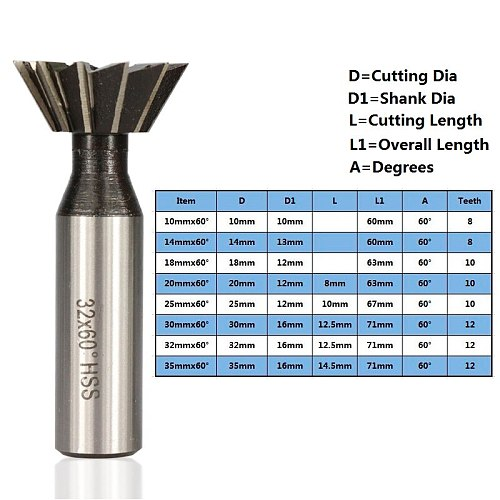60 Degrees Straight Shank Dovetail Milling Cutter HSS End Mills Dovetail Router Cutters End Mills