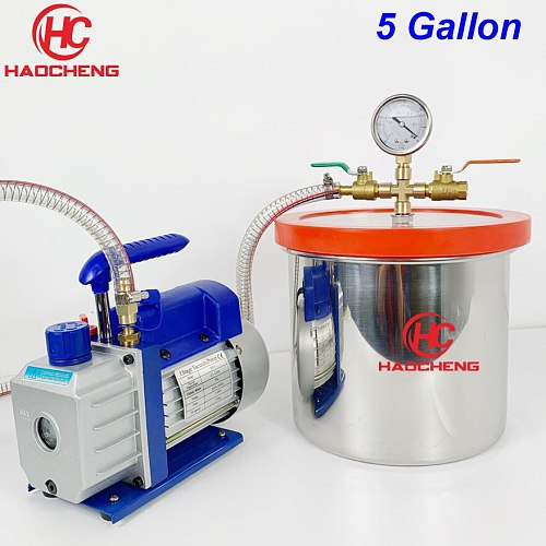 Free Shipping 5 Gal (20L) Vacuum Chamber Pump with 2.5CFM (1.4L/s) 220V Vacuum Pump,28cm*30cm Stainless Steel Degassing Chamber