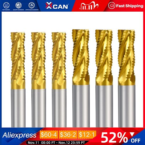 XCAN Roughing End Mill 4 Flute Titanium Coating HSS End Mill 12 16mm Spiral Milling Cutter CNC Router Bit