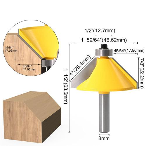 1pc 8mm Shank High Quality Large 45 Degree Chamfer & Bevel Edging Router Bit Wood Cutting Tool woodworking router bits