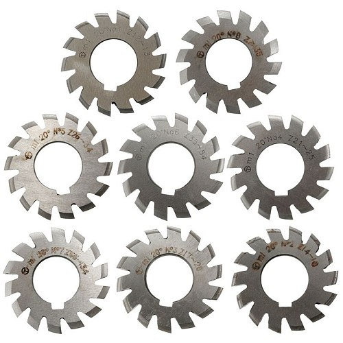 New Arrival Module 1 PA20 Degrees Bore 22mm #1-8 HSS Involute Gear Milling Cutter Gear Milling Cutter Gear Cutting Tools