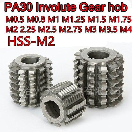 M0.5 M0.8 M1 M1.25 M1.5 M1.75 M2 M2.25 M2.5 M2.75 M3 M3.25 M3.5 M4 Pressure Angle PA30 HSS-M2 Involute Gear hob