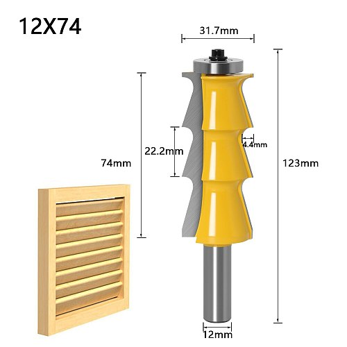 1pc Louver Shutter Style Router Bit - 1/2  Shank 12mm shank door knife Woodworking cutter Tenon Cutter for Woodworking Tools