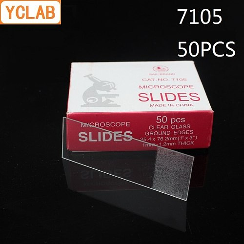 YCLAB 50PCS 7105 Microscope Slides Clear Glass Ground Edges Medical Laboratory Equipment