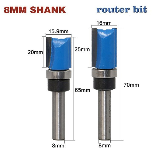 Top Qualuty 1pc 8mm Shank Industrial Grade Woodworking Tool Router Bits For Wood Flat End Mills With Bearings Milling Cutter