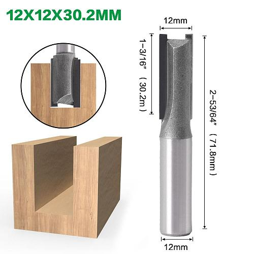 1pc 12mm Shank 2 flute straight bit Woodworking Tools Router Bit for Wood Tungsten Carbide endmill milling cutter