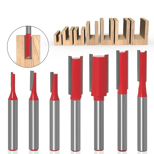 7pcs 1/4'' / 6mm Shank Straight Bit Tungsten Carbide Single Double Flute Router Bit Wood Milling Cutter for Woodwork Tool