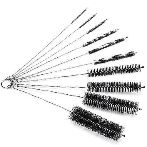 Laboratory Bottle Brush,Bottle Cleaning Brush, Cleaner for Narrow Neck Bottles Cups with Hook, Set of 10 pcs