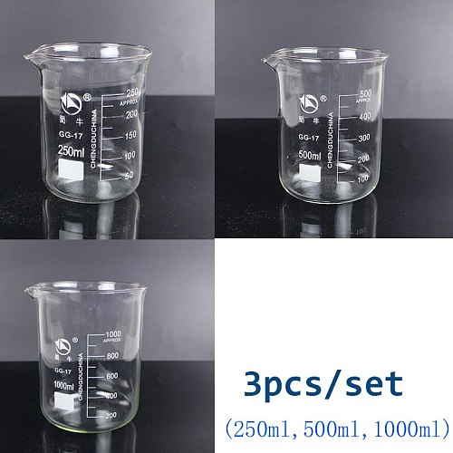 3pcs/set (250ml,500ml,1000ml) Glass Beaker Chemistry Experiment Labware For School Laboratory Equipment